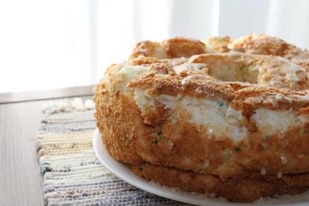 close up food: Close up of an Angel food cake Stock Photo