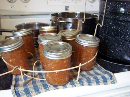 stovetop: Jars pots and kettle