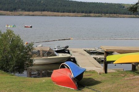 Canoes on the shore scenic