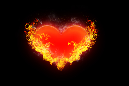 illustration of Burning red heart surrounded by orange flames on a black background of love, romance and valentine