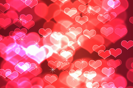 Bokeh In Abstract Red Gradient Background Of Valentines Day