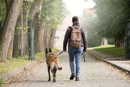 Woman with a malinois. Post apocalypse. travel with your dog. Woman walking on a stone path with a backpack. Woman walking towards the building at the end of the road.