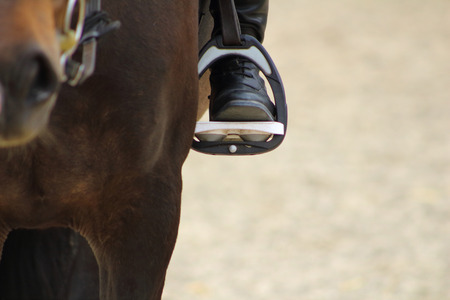 A black boot of rider in the stirrup tighten on the horse, the foot in the stirrup