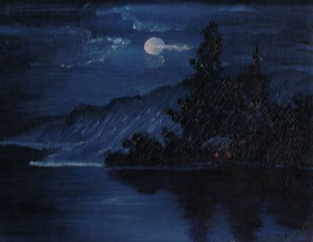Oil Painting Of A Cabin In The Woods Near Lake With Moon Reflecting On