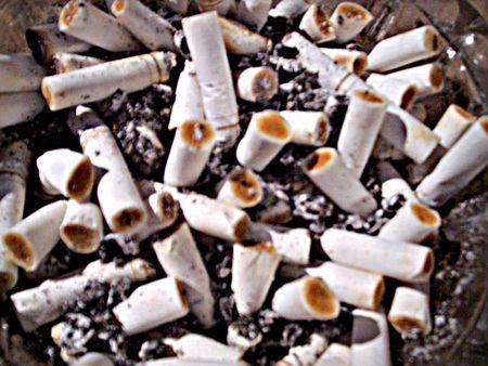 Ashtray full of cigarette butts Stock fotó
