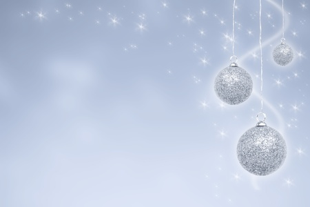 Silver Christmas baubles with stars photo