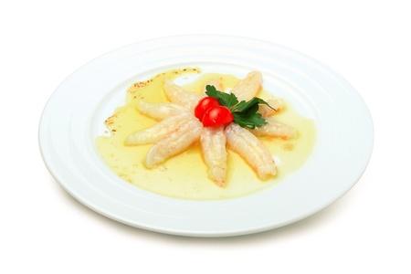specialit�: Specialit� di crostacei su piastra bianca, isolato