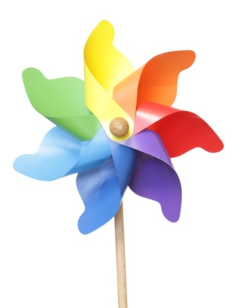 Colorful pinwheel isolated on white photo