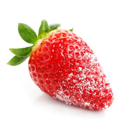 sugar: Close up of fresh strawberry with sugar