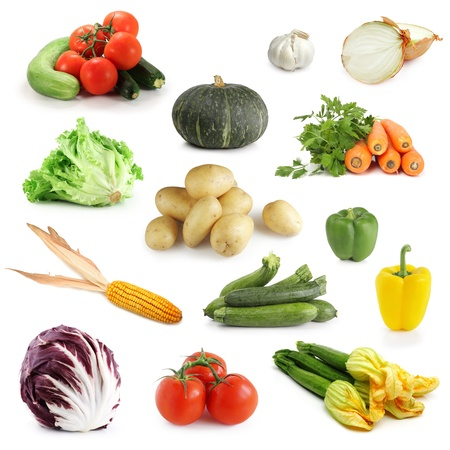Collection of vegetables isolated on white photo