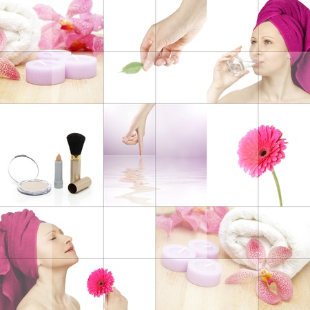 Cosmetics and spa collage in pink and purple colours photo