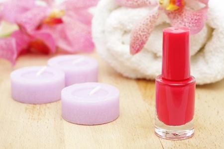 Nail  polish and tealight candles Stock Photo - 9081687