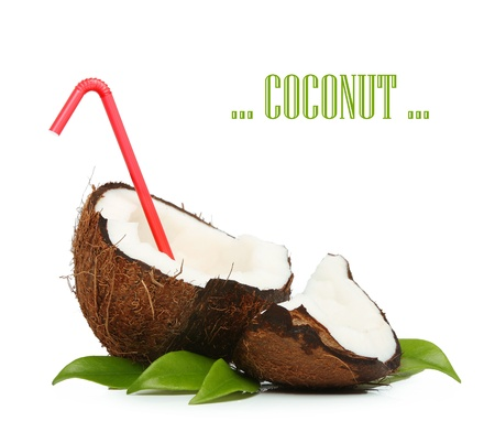 Coconut with red straw isolated on white