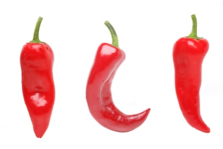 Chilli peppers, isolated on white Stock Photo - 9888339