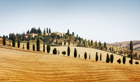tuscany: Typical landscape in Tuscany in Autumn Stock Photo