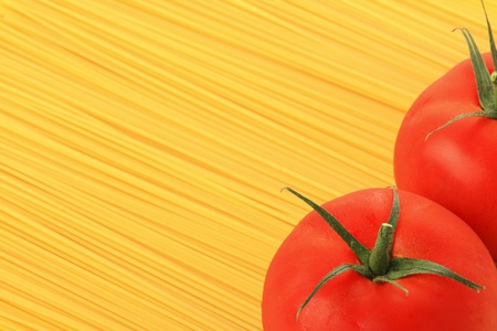 carbonates: Italian pasta and tomatoes with copy space