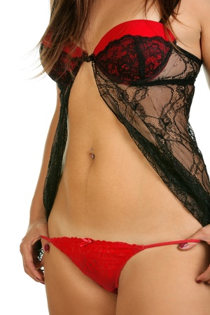 Sexy woman in black and red lingerie Stock Photo - 10254062