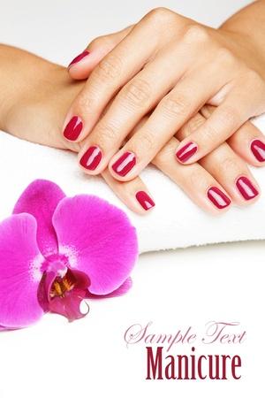 Gyönyörű kezek, manikűr és lila orchidea virágok Stock fotó