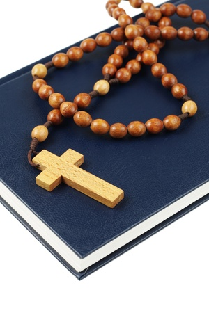 Holy Bible and rosary breads photo