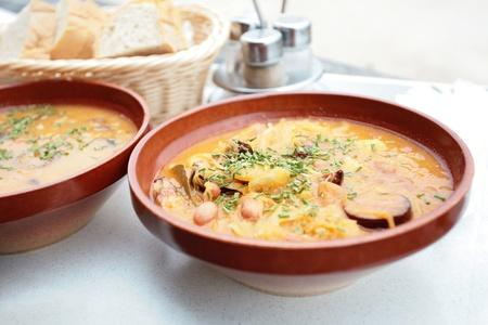 slovenian: Barley soup - traditional slovenian food Stock Photo