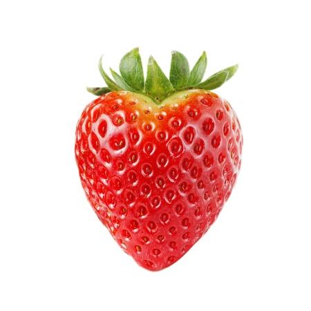 イチゴのハート形の白で隔離されます。 写真素材