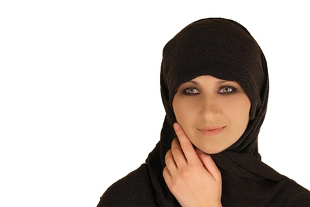 Young muslim woman isolated on white