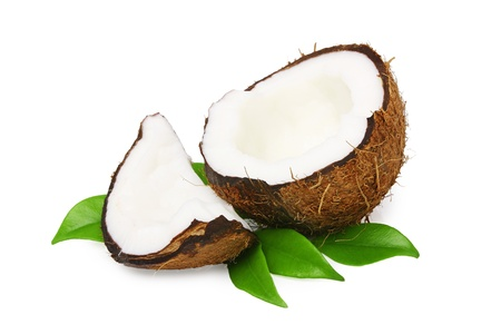 Coconut with green leaves isolated on white  Stock Photo - 10940803