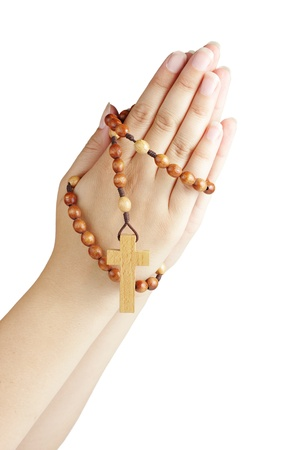 Hand with a rosary isolated on white background Stock Photo