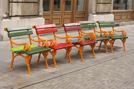 ljubljana: Small colorful benches in Ljubljana, Europe Stock Photo