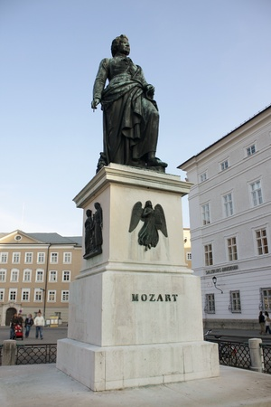 Statue of Wolfgang Amadeus Mozart in Salzburg photo