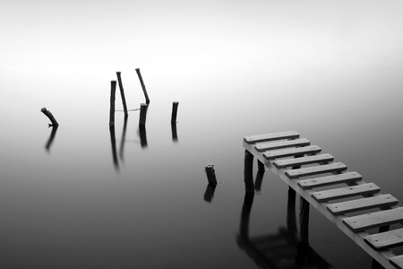 Small pier and wooden docks in the early morning Stock Photo - 11374428