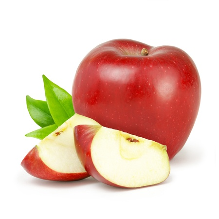 quater: Delicious red apple with green leaves isolated on white