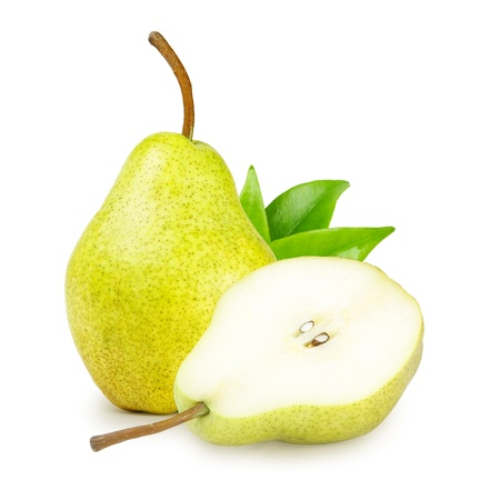 Delicious pear with green leaves isolated on white