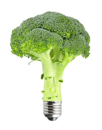 Green concept - broccoli with bulb screw