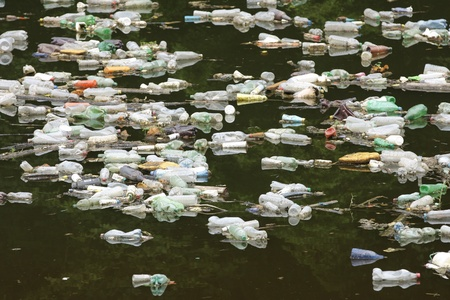 polluted river: Polluted river in Bosnia, Balkans Stock Photo