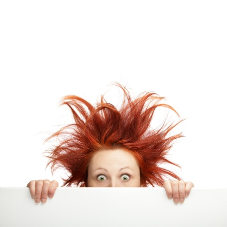 Redhead woman with messy hair with copy space