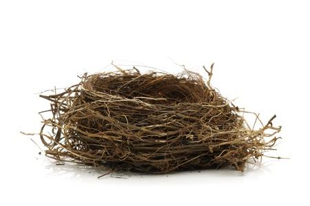 Nid d'oiseau vide isolé sur blanc Banque d'images