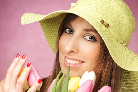 Portrait of beautiful woman with tulips Stock Photo - 12181542
