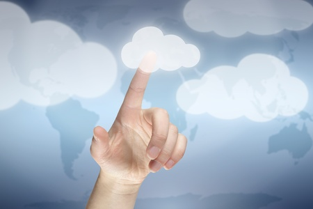 Cloud computing concept, finger touching the cloud Stockfoto