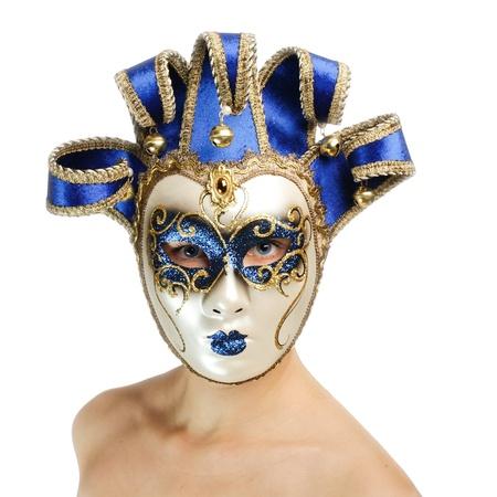 venice mask: Woman wearing carnival venice mask  Stock Photo