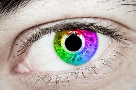 Close up of rainbow eye photo