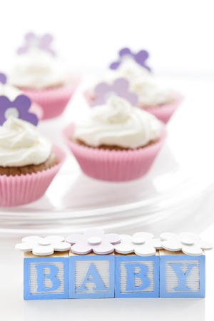 Delicious cupcakes for newborn baby boy Stock Photo - 12640523
