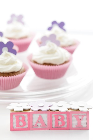 Delicious cupcakes for newborn baby girl Stock Photo - 12640323
