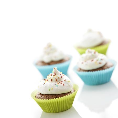 Delicious cupcakes with sweet cream Stock Photo - 12640250