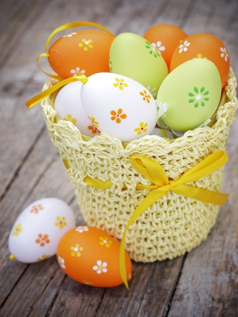 Decorated Easter eggs in crochet potholder Stock Photo