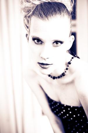 procesed: Attractive retro woman posing