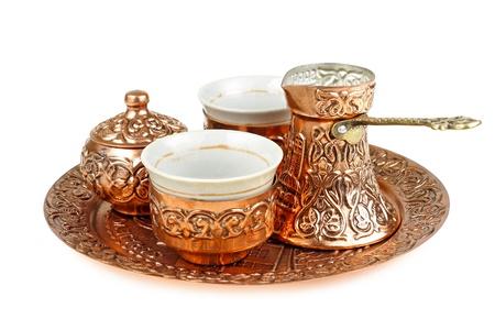 east espresso: Turkish coffee set isolated on white