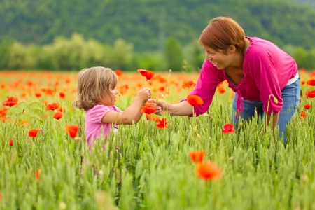 Mother and daughter playing in poppy field photo