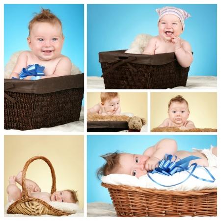 bionda occhi azzurri: Collage del ragazzo adorabile bambino