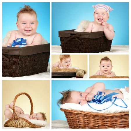 Collage of adorable baby boy  photo